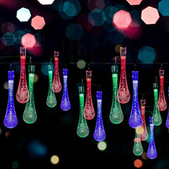 Solar LED Water Drop String Lights - 20ft Long, 30 LED Bulbs - For Christmas Trees & Party Decorations