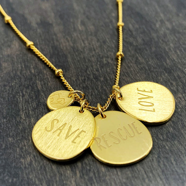 FOUR CHARM PUPPIE NECKLACE, GOLD - Puppie Love