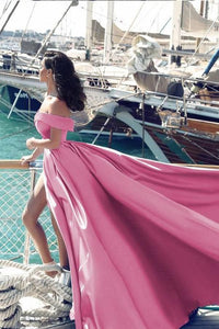 pink off the shoulder prom dress high slit a-line evening dress court train prom gowns bridal gowns,HS102