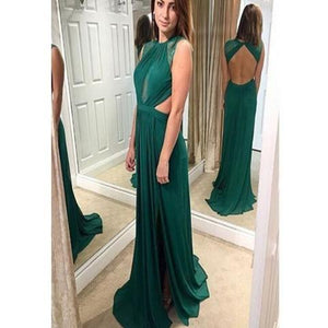 formal green chiffon open back side slit long prom dress, PD1369