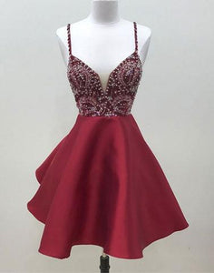 spaghetti straps A-line burgundy beaded short homecoming dress, HD856