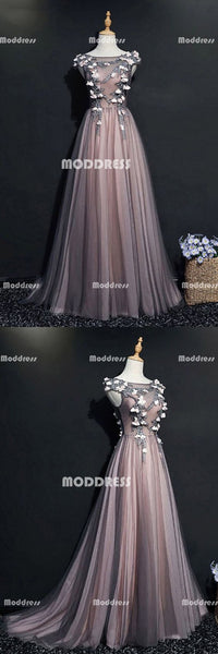 Applique Long Prom Dresses Cap Sleeve Evening Dresses Tulle A-Line Formal Dresses