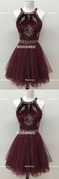 Beaded Short Homecoming Dresses Sequins A-line Short Homecoming Dresses