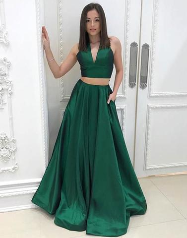 Green v neck long prom dress, 2pieces evening dress prom gowns