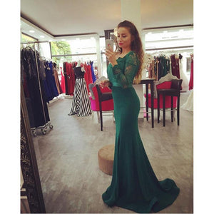 elegant green long lace sleeves mermaid long prom dress, PD1367