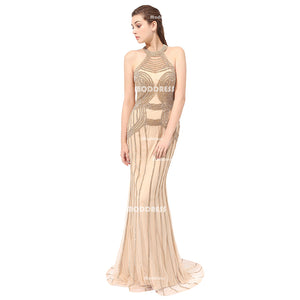 Luxurious Beads Long Prom Dresses Gold Mermaid Evening Dresses Backless Formal Dresses