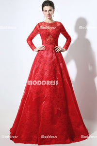 Red Lace Beaded Long Prom Dresses Long Sleeve Evening Dresses A-Line Formal Dresses