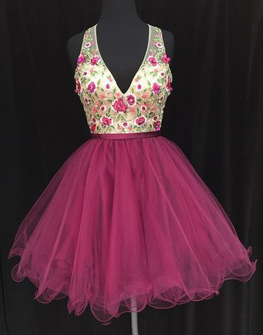 v-neck hot pink tulle short open back homecoming dress, HD544