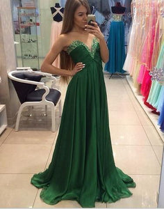 simple beaded chiffon green sweetheart long prom dress, PD001781