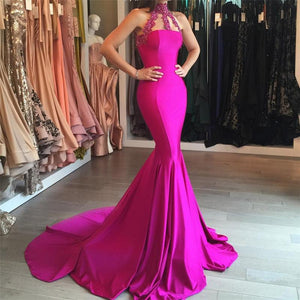 charming hot pink mermaid high neck formal 2017 long prom dress, BD5224