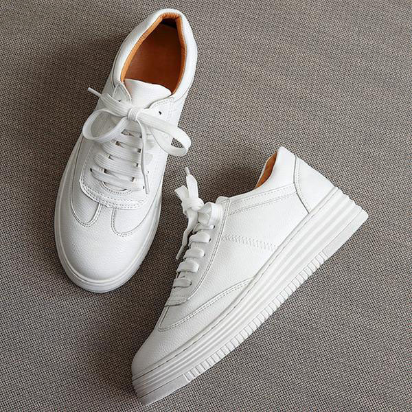 Top Quality Leather Platform Sneakers. 2 Colors