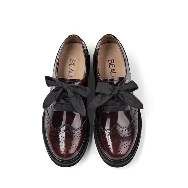 Genuine Patent Leather Brogue Shoes