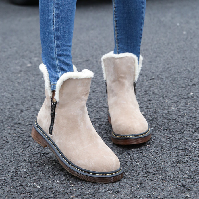 Warm  Winter  Suede Ankle Boots with Faux Fur. 2 Colors