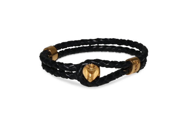 Gold Cobra Black Leather Bracelet