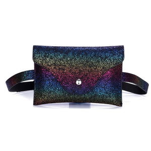 Fashion waist bag Women  shiny Sequins Leather Messenger belt Bag super quality Fanny Pack For Women