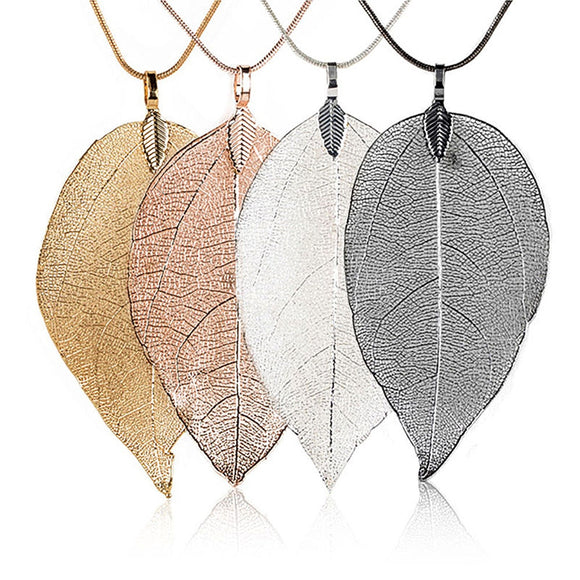 Bijoux Femme Collier 2018 New Pink Women Special Leaves Leaf Sweater Pendant Necklace Ladies Long Chain Jewelry Statement USPS