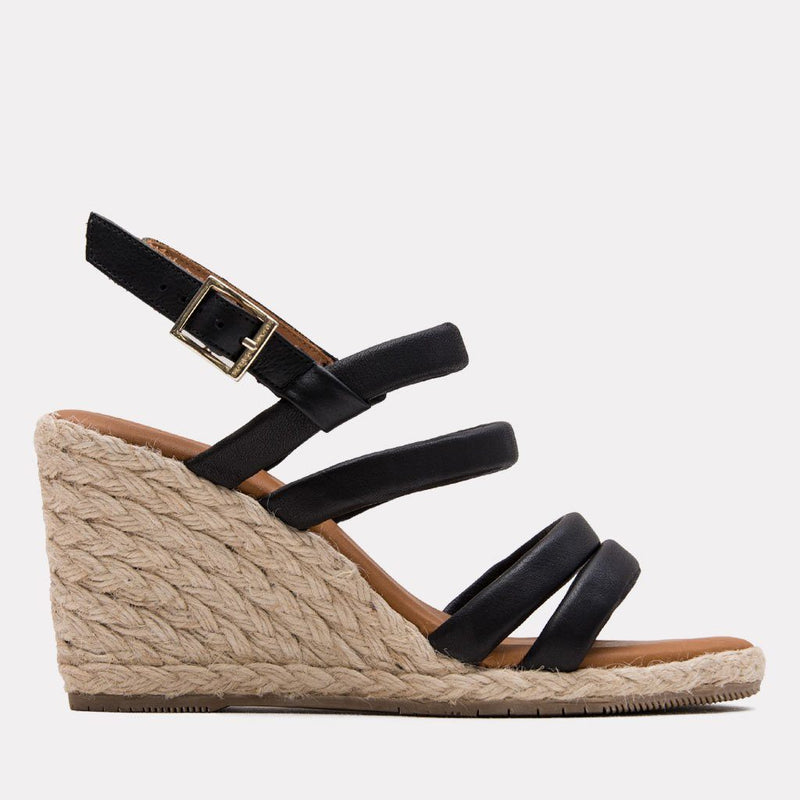 Espadrille - Rebecca Leather Espadrille Wedge (Black)
