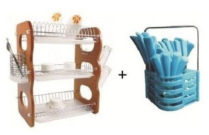 3-Tier Plate Rack & Cutlery Bundle