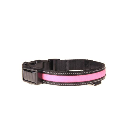 $22.00 - GLOW IN THE DARK DOG COLLAR - NIGHT SAFETY SOLAR CHARGE LED SMALL / PINK 0KG (8) TRAVEL PETS