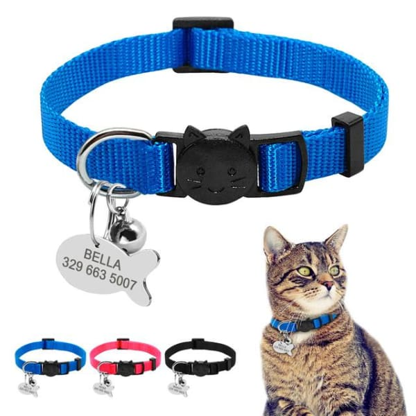 $13.75 - SAFETY BREAKAWAY QUICK RELEASE CAT COLLAR WITH BELL - ADJUSTABLE BLUE 0.25KG (2) TRAVEL PETS
