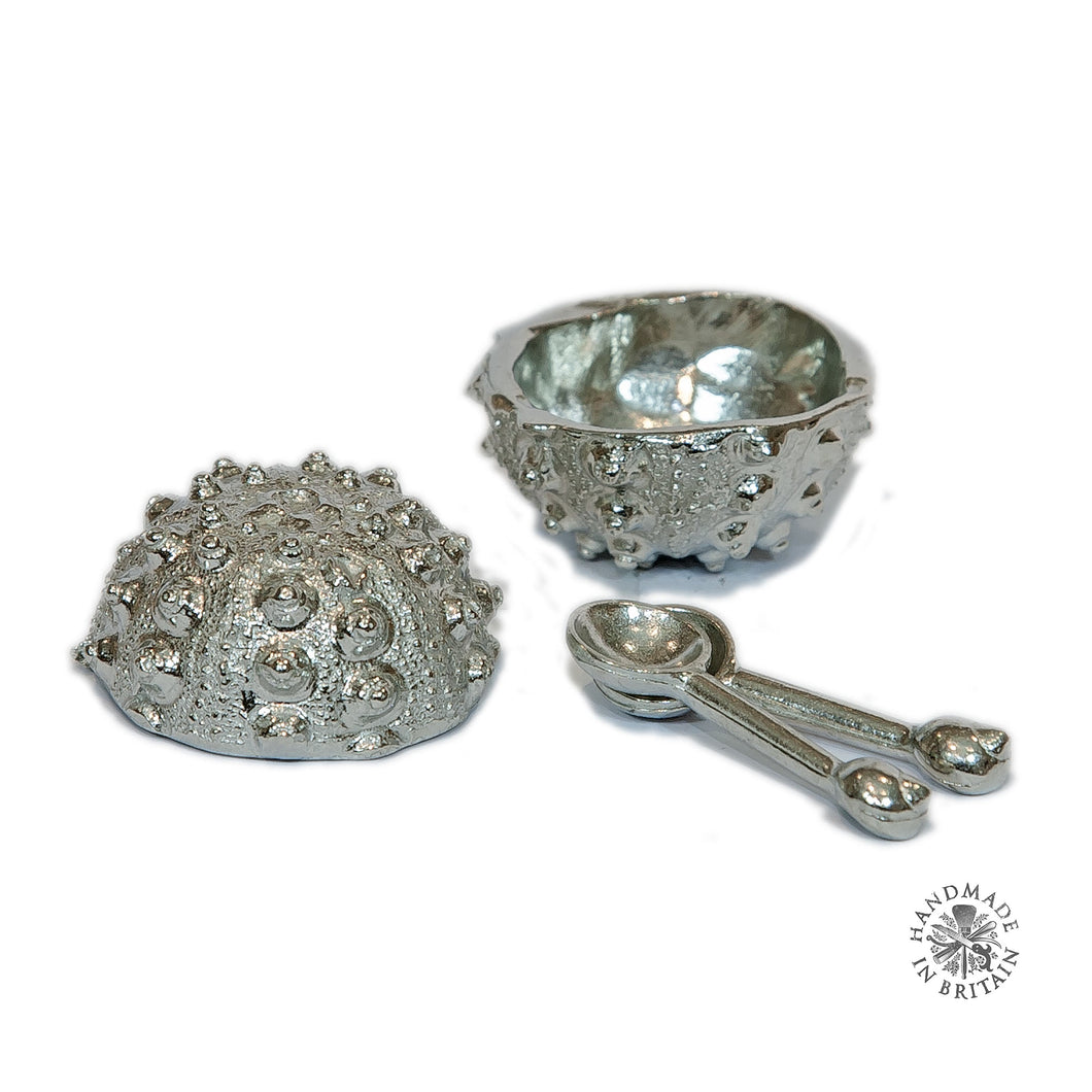 Pair of Small Urchin shaped Salts with spoons