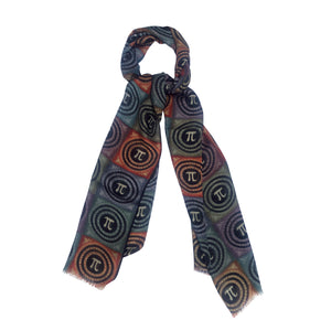 Pi day scarf colorful small squares math scarf