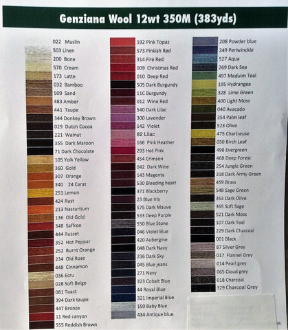 Genziana Wool Thread Color Chart