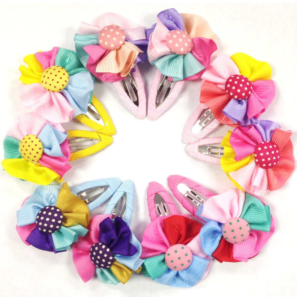 Wrapables Rainbow Ribbon Flower Hair Clips for Toddler Girl, Set of 5