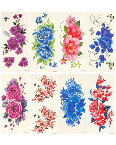 Wrapables Nail Art Water Nail Stickers Water Transfer Stickers / Nail Art Tattoos / Nail Art Decals, Floral (6 sheets)