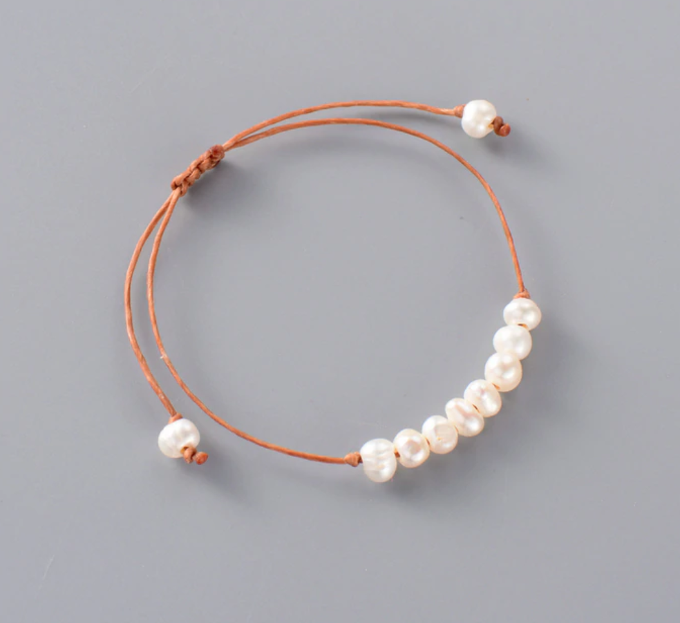 Natural Genuine Freshwater White Pearl Cord Stacking Bracelet
