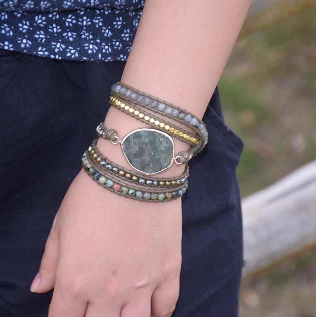 Natural Moss Agate Rough Geode Leather Beaded Wrap | Cuff