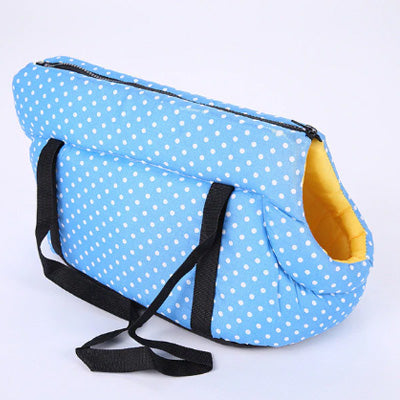 Padded Travel Shoulder Bag Sky Blue White Polka Dot Dog Carrier Chihuahua Clothes and Accessories at My Chi and Me