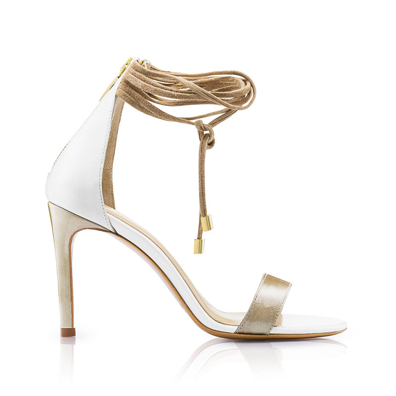 Olivia Sandals White and Olive Zurbano