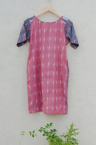 Two Sided Dress in Pink & Grey Ikat