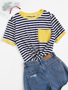 Plus Contrast Binding Patch Pocket Striped Top