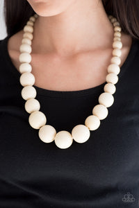 Paparazzi Jewelry Wooden Effortlessly Everglades - White