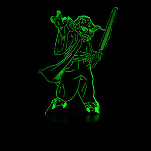 Star Wars Master Jedi Yoda Lightsaber Color-Changing USB-Powered 3D LED Night Light Desk Lamp