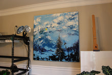"""Blue Elements"" by Oksana Samarskiy, 4 ft. x 5 ft. Canvas, Textured Acrylic Painting"