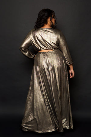 plus size gold skirt