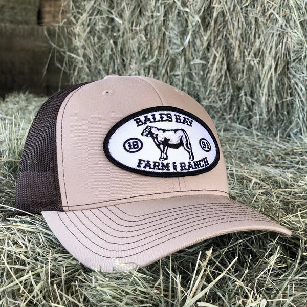 Bales Hay Beef Cow Patch Hat- Khaki/Brown