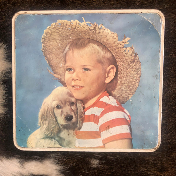 VINTAGE TINS - Boy with dog puppy cocker spaniel biscuits Burton's gold medal