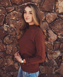 Sage Cowl Neck Sweater in Caramel