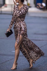 Sexy Leopard Print Side Vented Long Sleeve Maxi Dresses - lolabuy