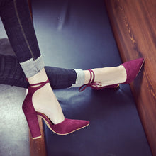 Fashion Pure Color Frosted Thick Heel Shoes - lolabuy