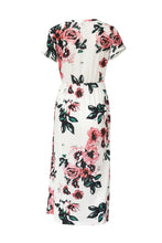 Round Neck  Bust Darts  Floral Printed  Short Sleeve Maxi Dresses - lolabuy
