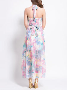 Halter  Printed Maxi Dress - lolabuy