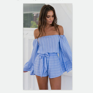 Off Shoulder Stripe Wide Leg Rompers - lolabuy