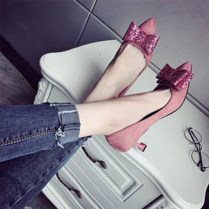 Fashion Suede Slim Heel Shoes With Bow-Knot - lolabuy