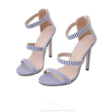 Stripe Slim Heel Word Band High Heel Shoes - lolabuy