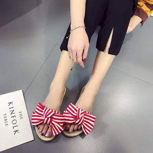 Fashion Pure Color Sandals With Bow-Knot - lolabuy